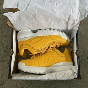 FILA Disruptor II Premium Repeat Kid's Sneakers Size 5.5K Citrus Yellow White