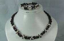 Garnet & White Pearls  Designer Necklace & Bracelet, Natural Gemstones