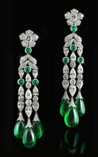 9Ct Cabochon Cut Emerald Simlnt Diamond Chandelier Earrings White Gold FN Silver