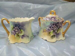Vintage Cream & Sugar Set Hand Painted Violets w/gold trim - Stamped Barvaria