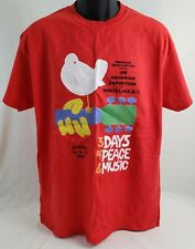 Woodstock Graphic T-Shirt L Red NWOT 3 Days Of Peace & Music Classic Rock Hippie
