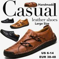 Men's Driving Casual Boat Shoes Leather Flats Moccasin Slip On Loafers Plus Size