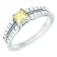 Fancy Yellow 2.00 CT Princess Cut Diamond Engagement Ring GIA Certified 18k Gold