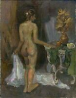 """Russischer Realist Expressionist Öl Leinwand """"Akt"""" 90x70 cm"""