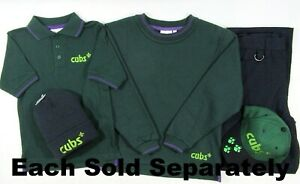 Boys Cub Cubs Scouts Green Jumper Polo T Shirt Cap Trousers Beanie Hat Hoodie