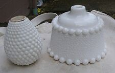 New listing Vintage White/Milk Glass Lamp Base & Middle Piece,1930s,hobnail,textu red -parts