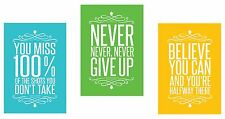 Set of 3 Colorful Posters 13 X 19 inch Motivational Inspirational Quote Wall Art