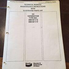 Bendix DC Generator  30B107-7-E & 30B107-7-F Service Parts Manual
