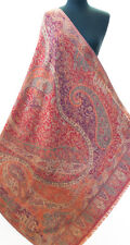 "Reversible Red Kani Gold Wool Shawl 81"" x 42"" Burgundy Floral Moghul Paisely"