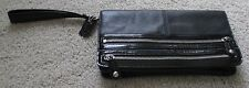 Coach LARGE Clutch Wristlet Wallet with Zippers Black Smooth and Patent Leather