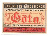 Adesivo calcomania sticker Göta Säkerhets Tändstickor Sverige Dimensioni cm 7,5x