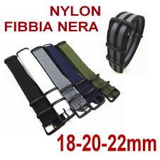 CINTURINO NYLON FIBBIA NERA PVD NERO VERDE MILITARE GRIGIO BLU 18-20-22mm G10