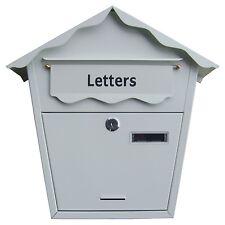Grande ACCIAIO BIANCO POST lettera posta casella chiudibili con chiavi Outdoor WALL MOUNTED