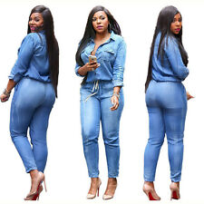 1f5f333ccd4c Women s Bodycon Jumpsuit Jeans Denim Rompers Overalls Trousers Pants Casual