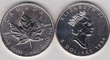 Dos 1994 onzas de plata Hojas de arce de Canadá en cerca de nuevo, sin usar con cápsulas
