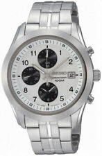 Seiko mens watches chronograph classic casual  white face black subdials SNDA91