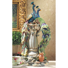 """Peacocks In Paradise Design Toscano 19"""" Hand Painted 360 Degree Sculpture Statue"""
