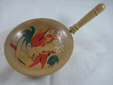 Wooden Snack Bowl with Handle, Vintage Graphics, ~7 inch diameter