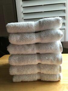 Lot /Set of 6 Vintage Hand Towels Fieldcrest 100% Cotton White Classics