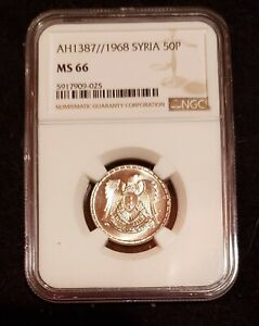 1968 (1387 AH) Syrian 50 piastres NGC MS66 Cupro-Nickel coin