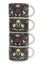 Sass & Belle Set of 4 Midnight Garden Floral Stacking Mugs Stoneware Home Gift