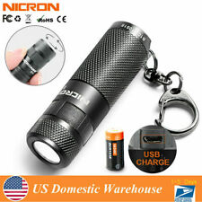 Nicron Mini Usb Rechargeable Led KeyChain Flashlight Key Ring 16340 Lamp Torch