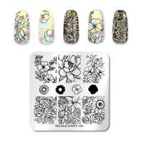 NICOLE DIARY Square Nagel Schablone Flower Nagel Kunst Image Stamp Plates 100