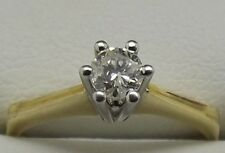 18CT YELLOW & WHITE GOLD NATURAL DIAMOND SOLITAIRE ENGAGEMENT RING VAL $1698