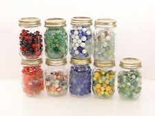 Large Marble Collection Various Colors in Nine Mason Jars Some Handmade Clear