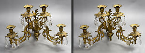 Pair of Old Victorian 4-Candle Bronze Sconces - Putti Lion Mask & Crystal Drops