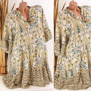 Italy 38 40 42 44 beige Tunika Kleid Hippie Boho Hängerchen Damen oversize