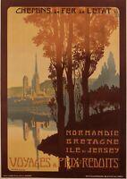 Affiche Originale - Julien Lacaze - Normandie - Bretagne - Ile de Jersey - 1910