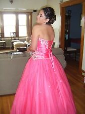 Prom Dress / Ball Gown Tiffany Designs Strapless hot pink Size 10 MINT