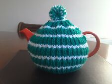Hand knitted tea cosy, small fits two cup teapot, green