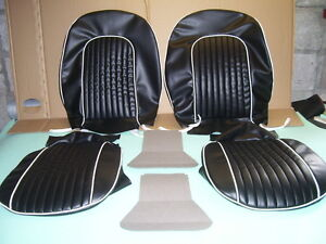 triumph spitfire SEAT coverings new mk.3.in black & white pipings.fits1965 to 70