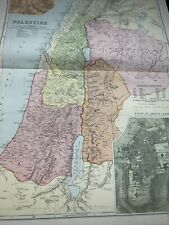 More details for 1900 very large map of palestine original 121 yrs old antique print
