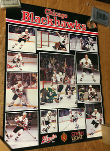 1985 CHICAGO BLACKHAWKS POSTER 17 x 22.5 VINTAGE NHL STROH'S BEER / WRONGWAY052