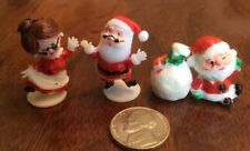 Vtg Miniature Plastic Santa Claus & Mrs Claus Hong Kong & Santa w/bag E2
