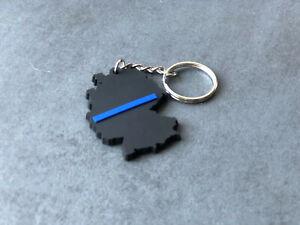 """Schlüsselanhänger  """"The Thin Blue Line""""  Blau für Polizei UNISEX"""