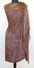 Large Wool Jamavar Paisley India Shawl Deep Brown Burgundy & Tan Pashmina Style