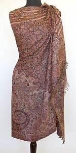 Large Wool Jamavar Paisley India Shawl Deep Brown Burgundy & Tan Pashmina Style