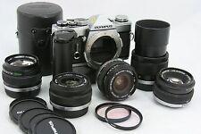 Olympus OM-1 MD, vintage camera 35mm SLR + 5x OM Zuiko lens + winder