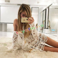 Sexy Women Bathing Suit Lace Crochet Bikini Cover Up Swimwear Summer Beach Dress
