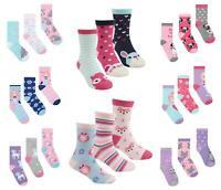 Girls/Kids 3-12 Socks Pair Pack COTTON RICH EVERYDAY Casual School Design Animal