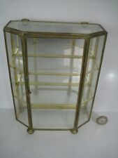 GLASS BRASS MIRRORED DISPLAY CABINET SHELF UNIT MINIATURE CURIOS THIMBLE NICNAC
