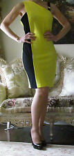 New VERSACE Collection Runway Yellow/Black Stretchy Dress IT 46,US 10-12,L-XL
