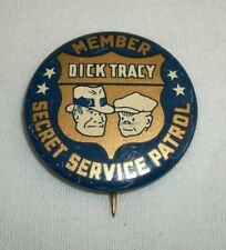 Vintage Dick Tracy Member Secret Service Patrol Pin Pinback Badge