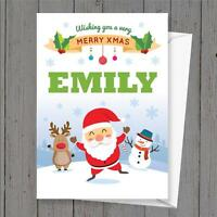 Personalised Xmas Christmas card any name childs name cute santa