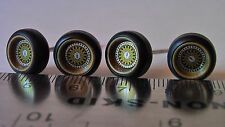 HOT WHEELS BBS TYPE WHEELS BOTH SMALL GOLD & L GOLD RUBBER TIRES REAL RIDERS NEW