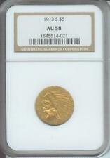1913-S $5 INDIAN Half Eagle NGC AU58 AU-58 SCARCE Gold Coin San Francisco DATE !